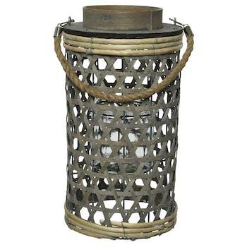 Lanterne peuplier gris blanchi H65cm