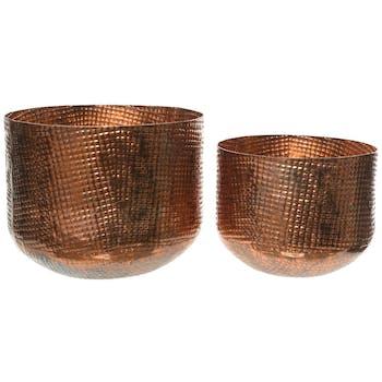 Cache-pots en fer ciselé cuivre brûlé (lot de 2)