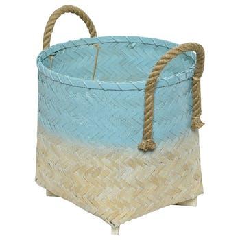 Panier bambou naturel blanchi bleu D35cm