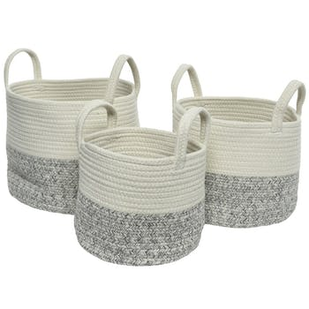 Paniers en coton blanc et gris (lot de 3)