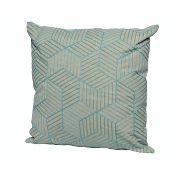 Coussin motifs cubes 3D bleu clair 45x45cm