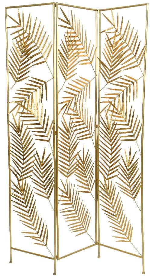 Paravent en métal feuilles de palmier dorées