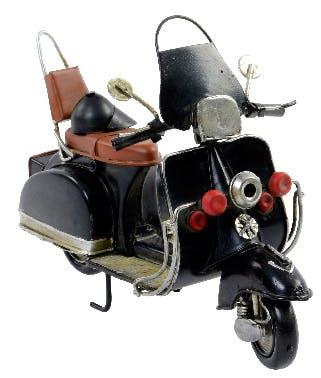 Scooter vintage déco noir métal 17cm