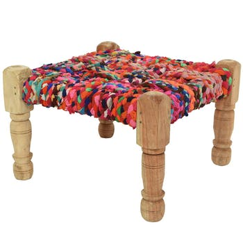 Tabouret en manguier assise chindi