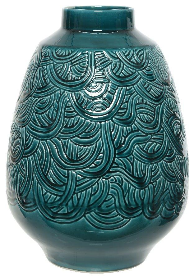 Vase en terre cuite graphique vert émeraude H46cm