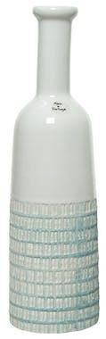 Vase ciselé terre cuite blanche et turquoise H35cm
