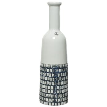 Vase ciselé terre cuite blanche et bleu foncé H35cm