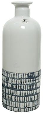 Vase ciselé terre cuite blanche et bleu foncé H26cm