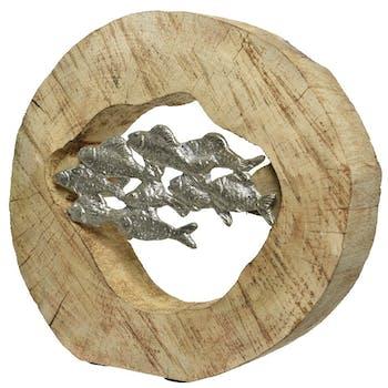 Rondin de manguier évidé avec banc de poissons