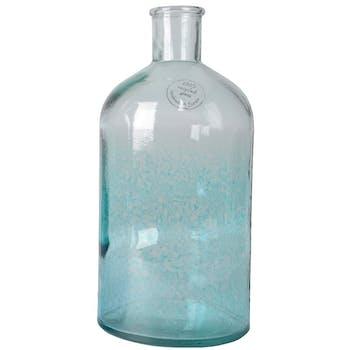 Vase goutte en verre recyclé bleu clair H22cm