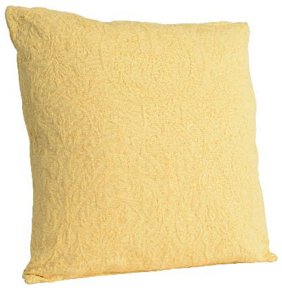 Coussin coton motifs en relief jaune