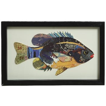 Cadre poisson décoré patchwork 25x40cm M2