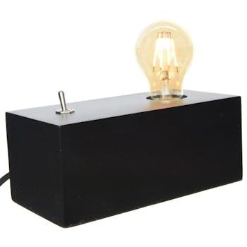 Lampe caisson bois noir variateur 20 cm