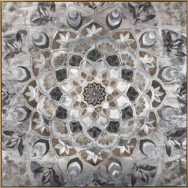 Tableau abstrait rosace grise et brun 102x102