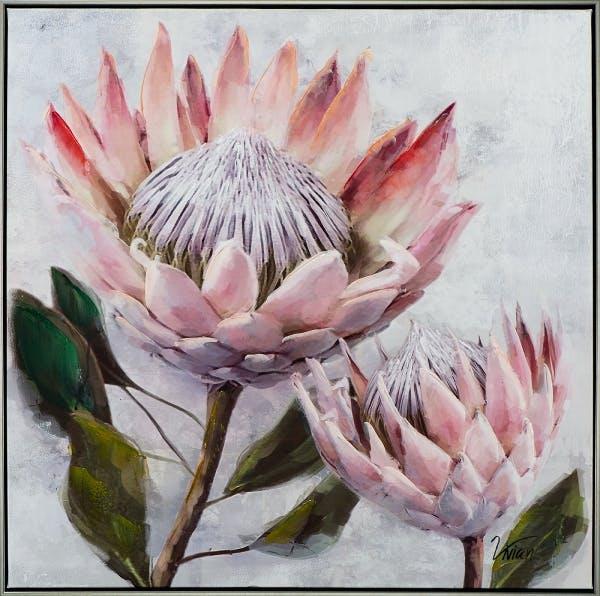 Table fleur rose pale pivoine 72,5x72,5