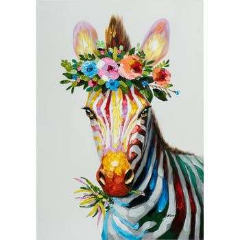 Tableau pop art zèbre couronne fleurs 70x100