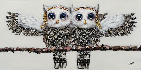 Tableau animaux duo de chouettes 60x120