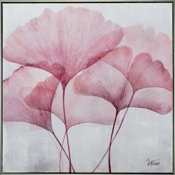 Tableau fleur rose ginkgo 5 tiges 72,5x72,5