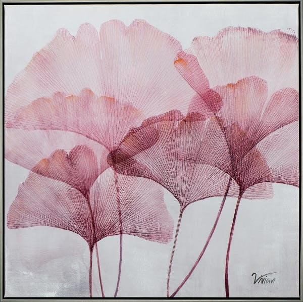 Tableau fleur rose ginkgo 72,5x72,5