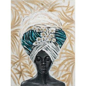 Tableau femme africaine à grande coiffe tons bleu, vert, beige 90x120