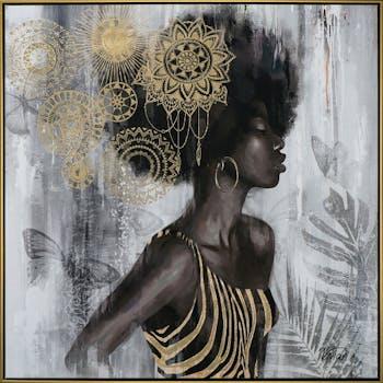 Tableau femme africaine de profil tons noir et or 82,5x82,5