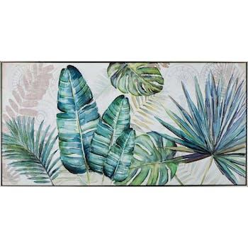 Tableau fleur feuilles tropicales variées tons bleu vert 72,5x142,5