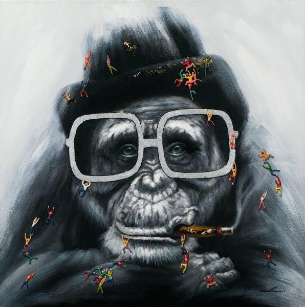 Tableau pop art singe à lunettes 100x100