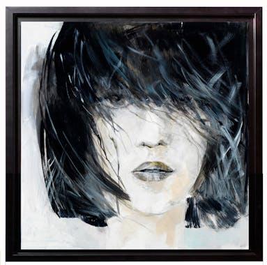 Tableau FEMME Le portrait Caisse américaine en bois noir 80x80cm
