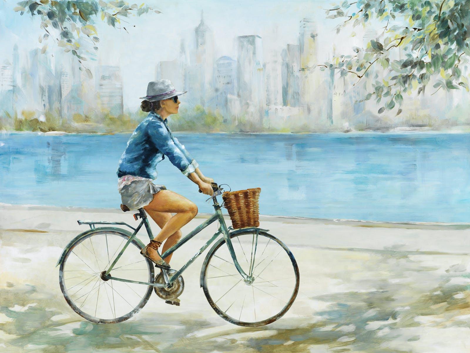 Tableau PAYSAGE La cycliste au chapeau II Caisse américaine en chêne 80x60cm