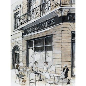 Tableau PAYSAGE URBAIN Café de Paris Caisse américaine en bois noir 80x60cm