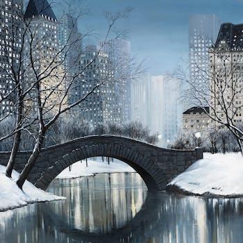 Tableau PAYSAGE URBAIN Central Park en hiver Caisse américaine en bois blanc 80x80cm
