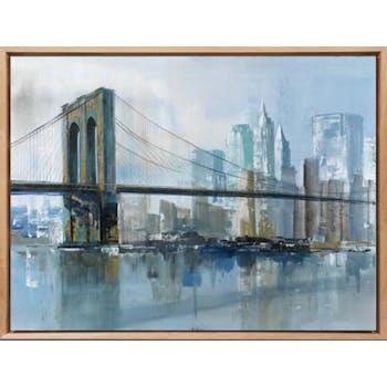 Tableau PAYSAGE URBAIN Pont de Brooklyn Caisse américaine en chêne 100x75cm