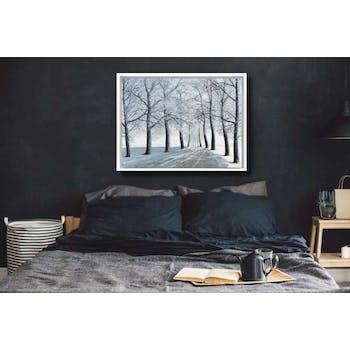 Tableau FORET Une route en hiver Caisse américaine en bois blanc 100x75cm