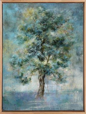 Tableau FORET Arbre vert Caisse américaine en chêne 90x70cm