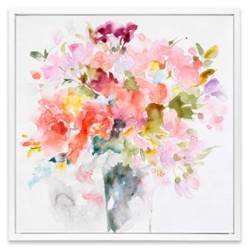 Tableau FLEUR Aquarelle Bouquet de fleurs II Caisse américaine en bois blanc 40x40cm