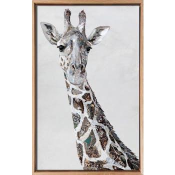 Tableau ANIMAUX Tête de girafe tons gris Caisse américaine en chêne massif 60x90cm