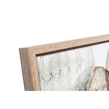 Tableau PAYSAGES Montgolfières teintes beiges sur ciel blanc Caisse américaine en chêne massif 80x80cm