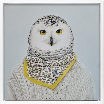 Tableau ANIMAUX Chouette pull et foulard Caisse américaine en bois blanc 30x30cm