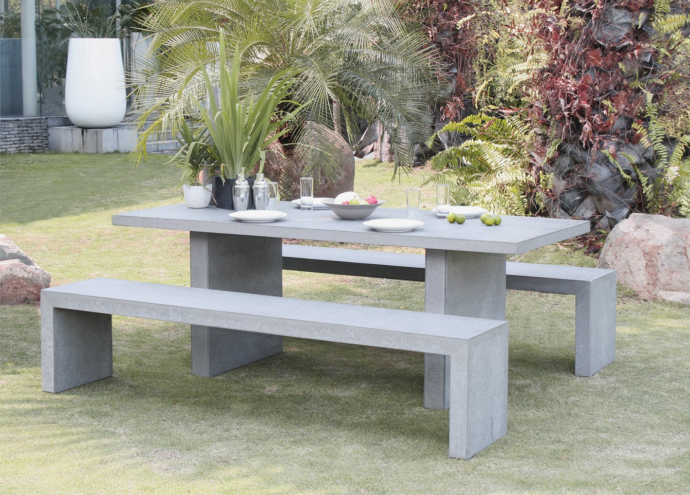 Salon de jardin Aspect Béton Table 200x90x75cm + 2 bancs 200x40x45cm HERCULE