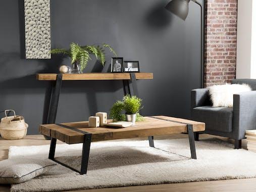 Table basse industrielle bois recyclé SWING