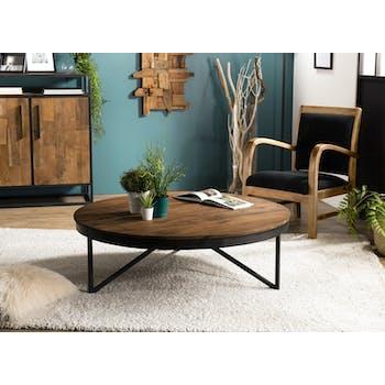 Table basse ronde bois de teck recyclé XL SWING