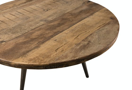 Table d'appoint ronde teck recyclé métal PM SWING