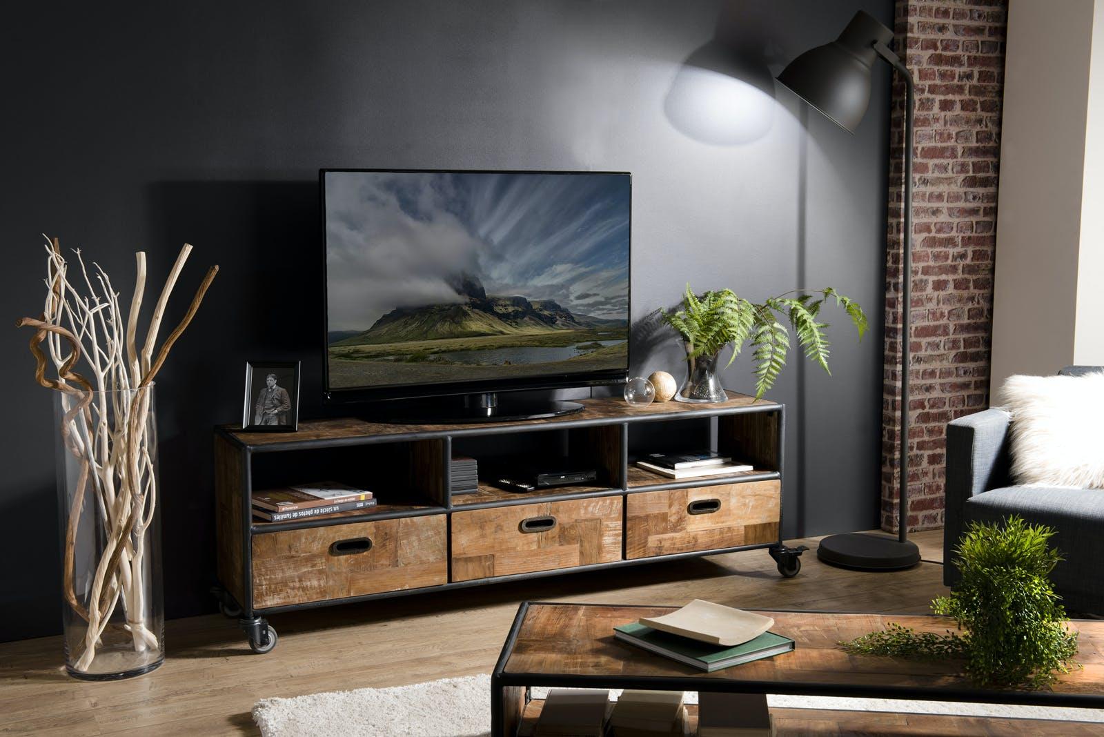 Meuble tv à roulettes teck recyclé SWING