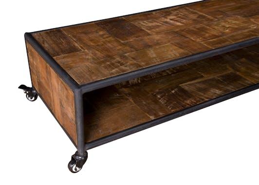 Table basse rectangulaire à roulettes teck recyclé SWING