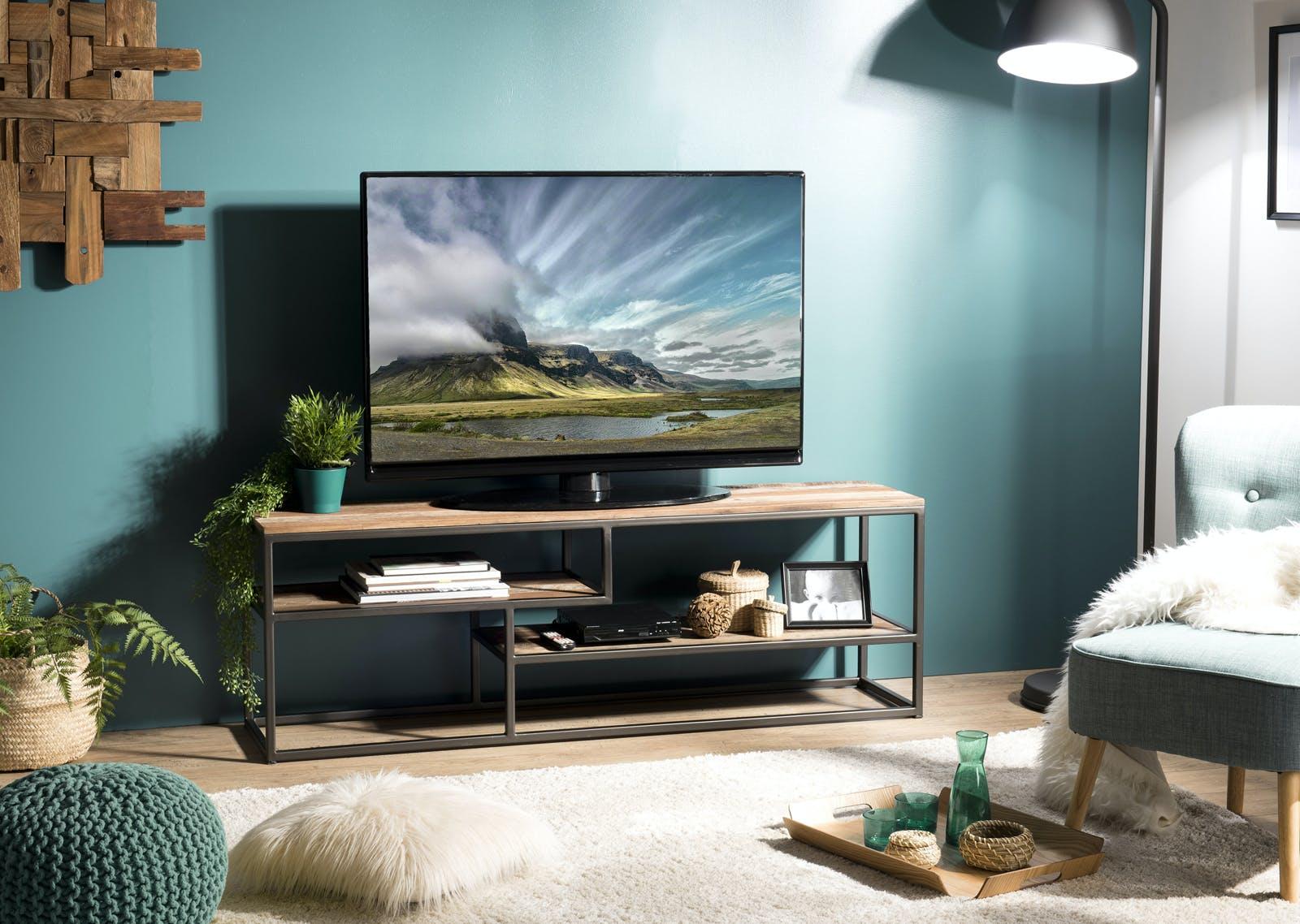 Banc tv teck recyclé SWING