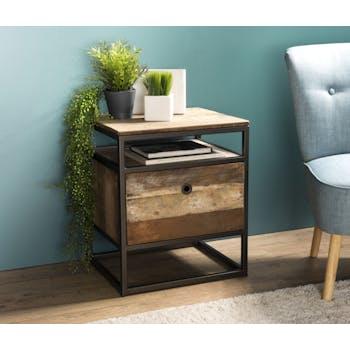 Table de chevet industrielle bois recyclé SWING