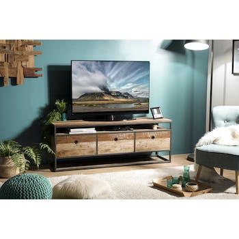 Meuble tv avec rangement teck recyclé SWING