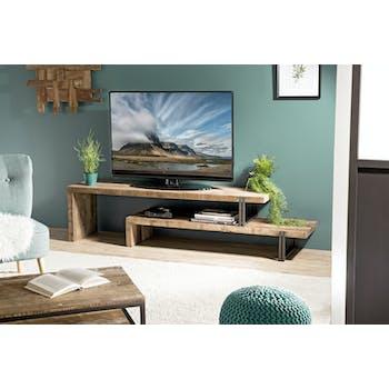 Banc tv bois recyclé 2 niveaux SWING