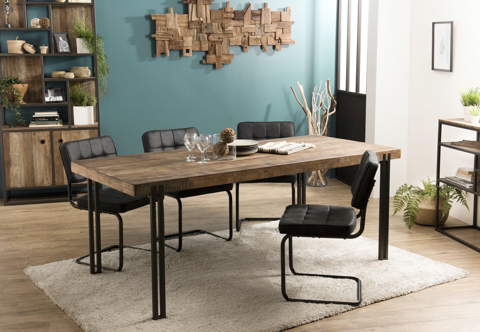 Table à manger industrielle teck recyclé 200x90 SWING