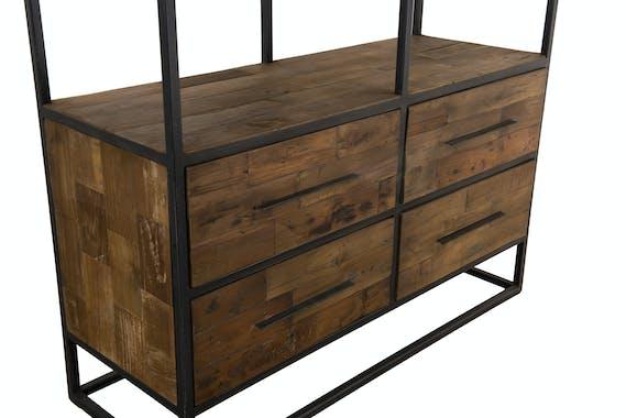 Etagère salon teck recyclé 4 tiroirs SWING
